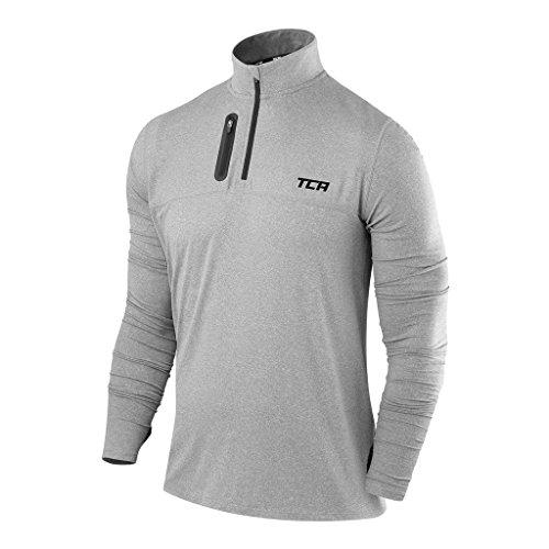 TCA Fusion Pro Quickdry Herren Laufshirt/Funktionsshirt mit Stehkragen - Langarm - Grau meliert, XL