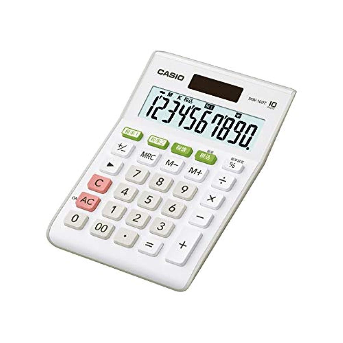 カシオ W税率計算電卓ミニジャストタイプ ホワイト MW-100TWE 【電卓 カシオ 小型 うちやすい 税率計算】