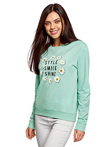 oodji Ultra Mujer Suéter de Algodón con Estampado, Verde,