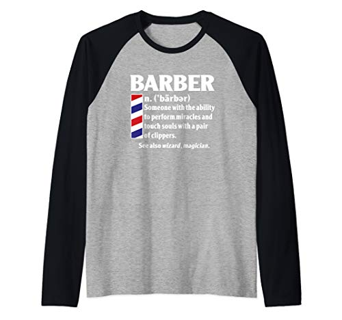Cool Best Barber Definition Gift - Miracles With Clippers Raglan Baseball Tee
