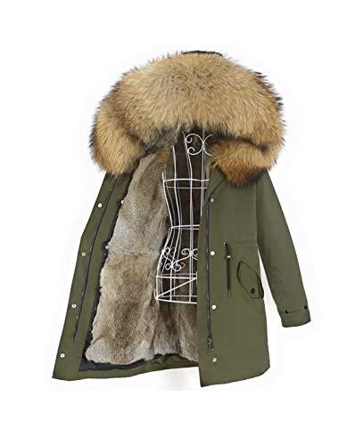 Lea Marie Parka XXL para mujer con cuello de 100% pelo auténtico, chaqueta de piel de conejo, color beige, nude, marrón, largo, forro de pelo de conejo, 6 variantes