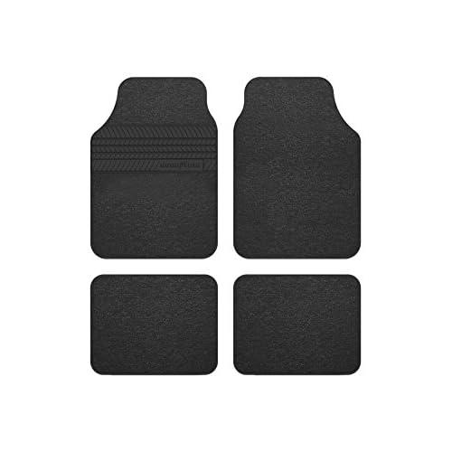 Goodyear GOD9018 1 set di tappeti con rivestimento in tacco di gomma in 4 pezzi nero GOODYEAR