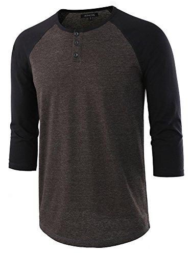 HETHCODE Men's Casual Raglan Fit Soft Baseball 3/4 Sleeve Henley T-Shirts Tee H.Charcoal/Black S