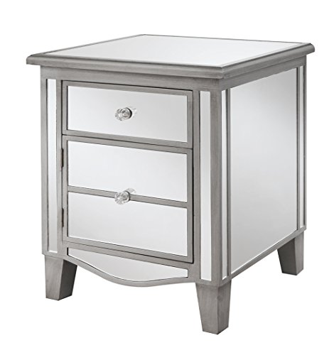 Convenience Concepts Gold Coast Park Lane Mirrored End Table, Antique Silver / Mirror