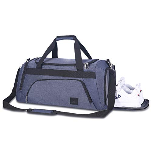 Sports Gym Bag with Wet Pocket & Shoes Compartment Travel Duffel Bag for Men and Women (Blue)