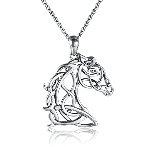Sterling Silver Celtic Animal Necklace - Horse Cat Giraffe Bunny Rabbit Pendant Celtic Knot Jewelry Gift for Women Teens Girls Animal Lovers (Horse)