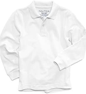 Nautica Boys Long-Sleeve Uniform Polo White XL