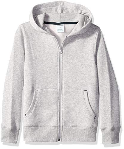 Amazon Essentials Jungen Fleece Zip-up Kapuzenpullover,Grau (heather grey),M