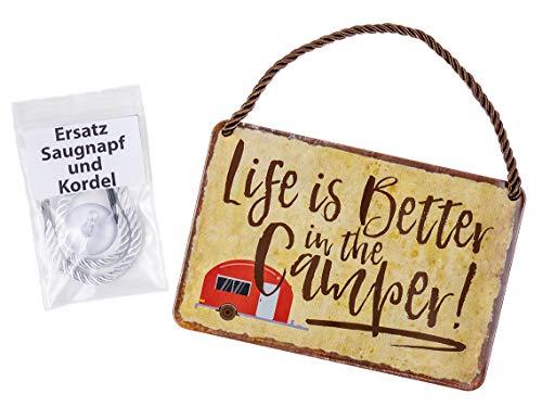 Blechschild Life is Better in the Camper - witziges Retro Deko Schild - lustiges Metallschild mit Kordel und Saugnapf - Dekoration Geschenk Wohnwagen Campingwagen Wohnanhänger Wohnmobil - 18x12cm