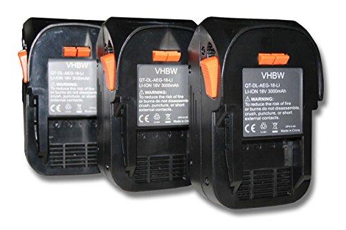 vhbw 3x Batería reemplaza Würth 0700956530 para herramientas eléctricas (3000mAh Li-Ion 18V)