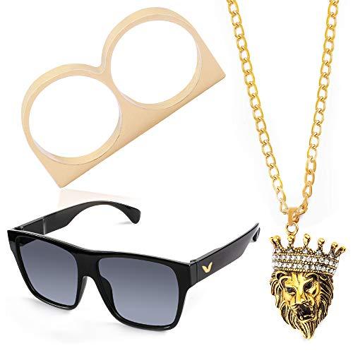 Beelittle Hip Hop Rapper Gangster Costume Kit - Celebrity Retro Style Occhiali Collana a catena in oro placcato oro Anello Hip Hop - 80s 90s Kit accessori (D)