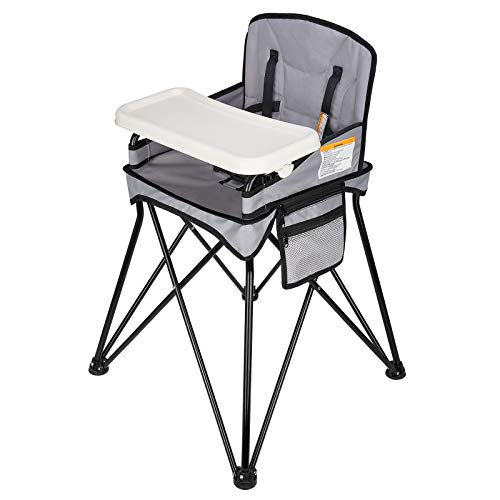 VEEYOO Travel High Chair for Baby - Foldable and Portable with Removable Tray and Carry Bag, for Dining, Camping, Picnic, Indoor/Outdoor, Grey