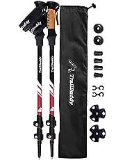 TrailBuddy トレッキングポール 2本セット、登山用ストック、伸縮可能なハイキングポール。軽量アルミ製、 航空機品質の頑丈なアルミ合金で作られた登山用品。簡単調整可能なフリップロック付き、手が疲れにくいコルクグリップ付き、パット入りストラップで滑落防止効果、収納袋付き登山杖