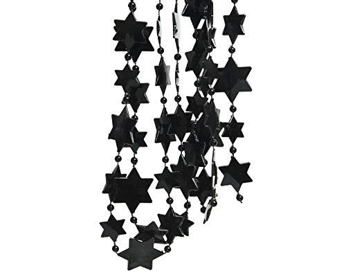 JB parelketting slinger kerstboom kerstslinger sterren klassiek zwart