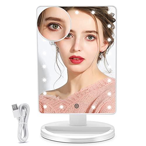 FUNTOUCH Espejo Maquillaje con 21 Luz Led, 1X / 10X Aumento Espejo de Maquillaje, Fuente de Alimentación Dual, 180 Rotación, Sensor Táctil Inteligente, Brillo Adjustable Espejo Tocador (Blanco)