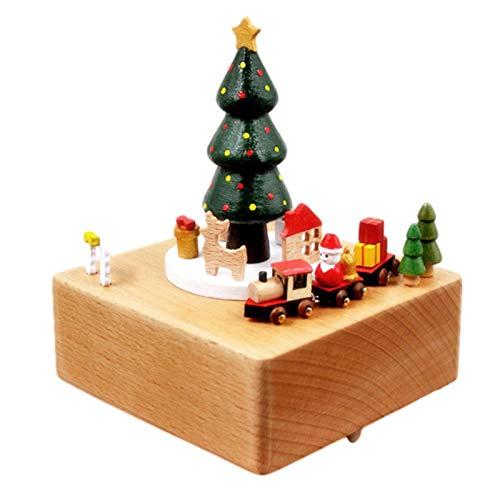 Obobb Presente de Dia dos Namorados, caixa de música de madeira, Papai Noel, árvore de Natal, trem, presente de aniversário, caixas de música para meninas