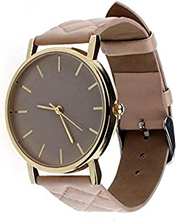 Casual watch with leather belt for women - Beige