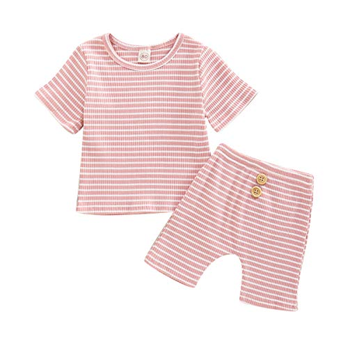 Toddler Baby Girls Outfits Set Striped Printed Short Sleeve Crew Neck Tops Elastic Shorts Infant Pajamas Clothes (Pink, 18-24 Months)