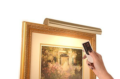Cordless Picture Light Remote Control Antique Brass – 18' for Pictures to 45' Wide- Safe for Artwork – No UV or Heat –Steel Frame 2.5 lbs – Dimmer Included