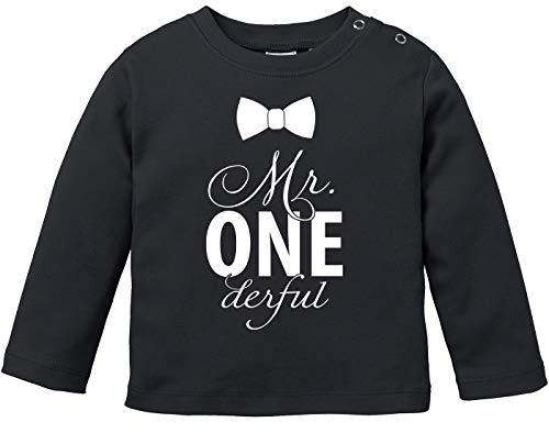 MoonWorks® Baby Langarmshirt Babyshirt Mr Onederful Geburtstag 1 Jahr Geschenk Jungen Mädchen Shirt schwarz 80/86 (10-15 Monate)