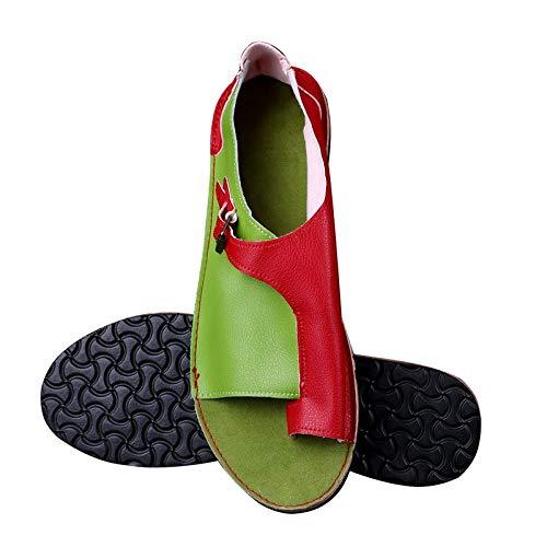 LWYY Sandalias De Mujer,Zapatos De Mujer Sandalias De Mujer De Cuero Sintético Rojo Y Verde Suave Sandalias Planas Femeninas Zapatos De Playa Ocasionales De Verano Hebilla Femenina,41