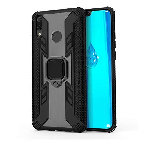 YingJUN-PHONE CASES mobiele telefoon case telefoon case voor Huawei Geniet 9 Plus / Y9 2019 ijzeren oorbellen stoot- PC + TPU-beschermhoes, met ringhouder duurzame ultra slim afdekking, zwart