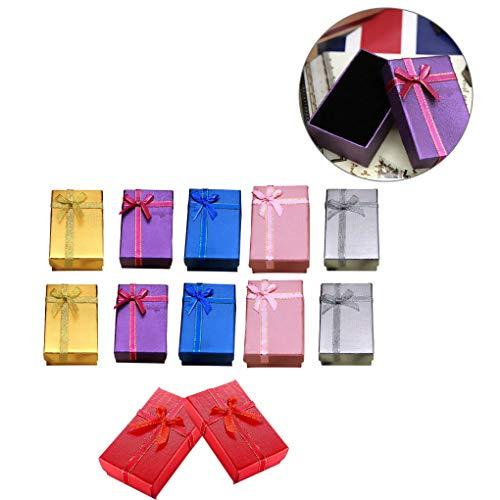 Deshunchang 12pcs Caja de Regalo de la joyería Caja de Paquete Collar Pendiente del Anillo Iridiscente de Papel cartón Regalo