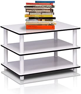 Furinno 11173 Just 3-Tier No Tools Coffee Table, White w/White Tube