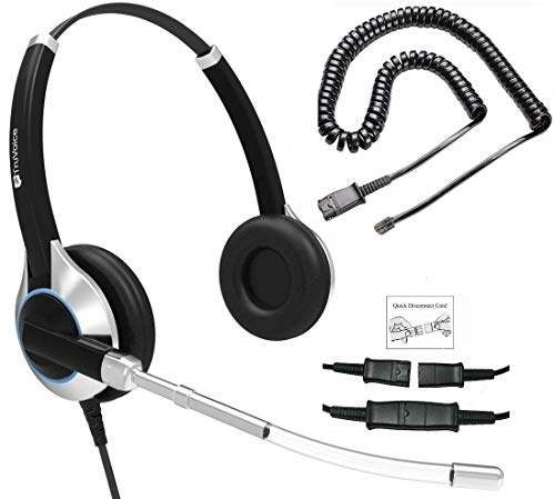Deluxe HD-350 Double Ear Headset with Noise Reduction Voice Tube and U10PS Cable for Yealink T19 T20 T21 T22 T23 T26 T27 T28 T29 T32 T36 T38 T40 T41 T42 T46 T48 T52 T54, Snom and Grandstream IP Phones