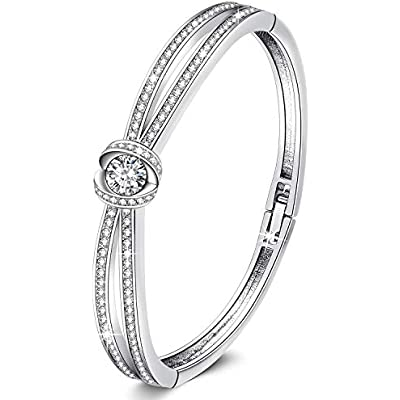 Cheap George Smith Cinderella Design Classic Silver Bangle Bracelet For Women Rose Gold Bracelets With Crystals Swarovski Birthday For Mum Wife Girlfriend With Jewelry Box Price Comparison For George
