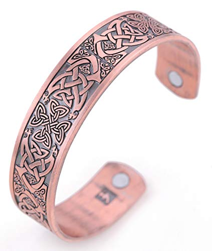 TEAMER Magnetic Bracelet Celtic Knot Irish Cross Health Care Therapy Engraved Cuff Bangle for Men (Antique Copper)