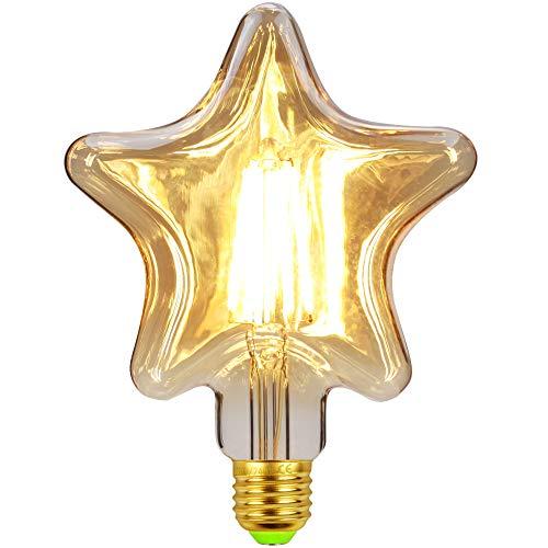 Bombilla LED Edison Vintage Bombilla E27 4 W 220 V Retro Bombilla Vintage Antigua Bombilla de estrella de cinco puntas para iluminación retro en casa, cafetería, bar, restaurante