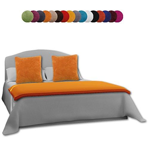 Bestlivings Kuscheldecke Tagesdecke Wohndecke 220x240 + 2X Kissenbezug Kissenhülle 50x50 Auswahl: mit Kissenfüllung orange - apricot