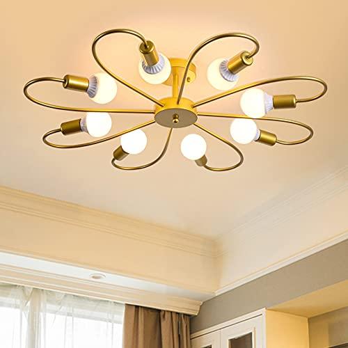 Qcyuui moderna lampada da soffitto a 8 luci lampada da soffitto industriale Sputnik, lampadari dorati a montaggio semi-incasso E27 illuminazione per soggiorno cucina in fattoria(lampadina non inclusa)