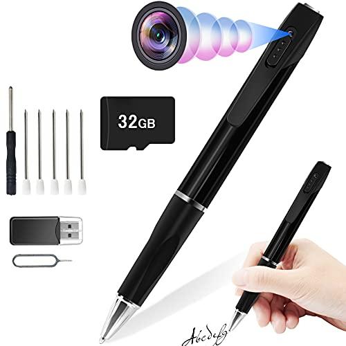 CYI Telecamera Spia Penna, HD 1080p Telecamera Nascosta, 32GB Mini Videocamera Spia con Registrazione in Loop Viene per la Casa, Il Monitoraggio delle Tate