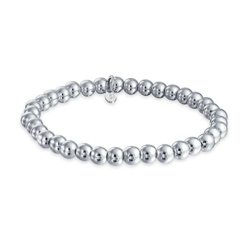 Simple Basic Round 925 Sterling Silver Bead Ball Strand Stretch Bracelet For Women 6MM