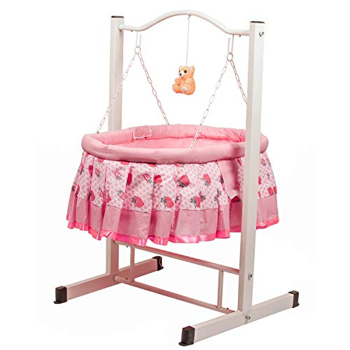 GoodLuck Baybee Born Baby Cradle for Kids | Cradle with Mosquito Net || Lightweight and Transportable (Pink)