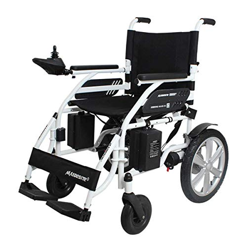 Accesorios para el hogar Ancianos Discapacitados Silla de ruedas eléctrica plegable de función doble ligera Brazos a lo largo del escritorio y reposapiernas elevadoras Conducir con motor o usar com