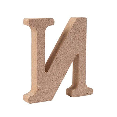 Gspirit Decorativo di Legno Lettere, Originale Colore 26 Alfabeto Legna Lettere per Nome Bambini Compleanno Festa Nozze Casa Decorazione e Camera da Letto, (N)