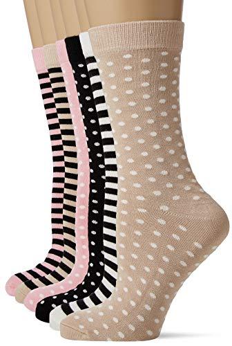 FM London Bamboo Calcetines, Multicolor (Stripes & Dots Light 10), Talla única (Talla del fabricante: UK 4-8 EU 37-42) (Pack de 6) para Mujer