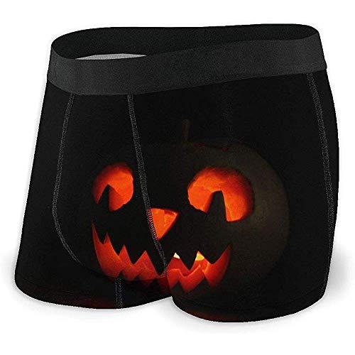Web--ster Halloween Kürbis Lampe In Schwarz Herren 'S Boxer Briefs Saugfähige Bequeme Unterwäsche Mit Elastischem Bund Größe XL