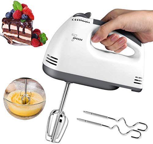 Hand Mixer Electric, 2020 New Lightweight Handheld Whisk, 7-Speed Hand-Held Electric Mixer Stainless Steel Egg Whisk with Beaters Sticks and Dough Sticks for Whipping Cream, Dough, Cakes, Bread Maker