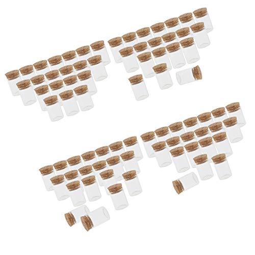 N/A - Lote de 80 tarros pequeños de cristal con tapones de corcho para pruebas de artesanía de joyas