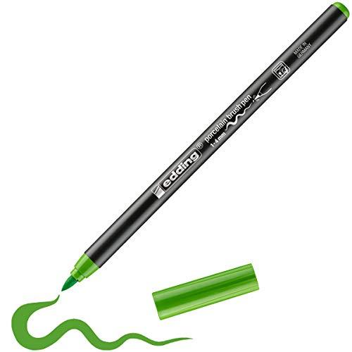 edding 4200 Porzellanpinselstift - hell-grün - 1 Stift - Pinselspitze 1-4 mm - Filzstift zum Beschriften, Dekorieren von Keramik, Porzellan - spülmaschinenfest, lichtechte Tinte, schnell trocknend