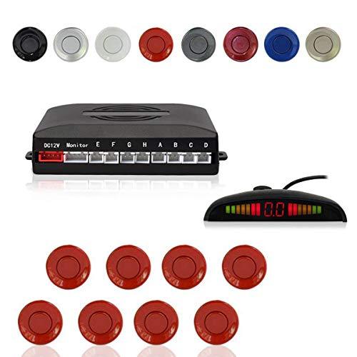 Cocar Radar Aparcamiento Sensor Sistema, Coche Aparcamiento Kit con 8 Estacionamiento Sensores + Detección de Distancia + Sonido Advertencia(Rojo Color)