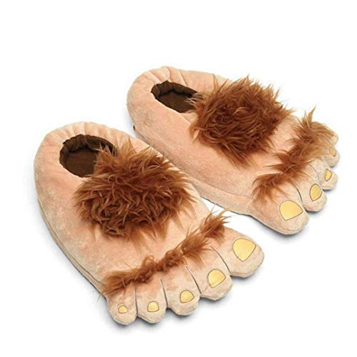XKJFZ 1 Paar Plüsch Monster Abenteuer Slippers Neuheit Winter-Big Feet Hausschuhe Kreative Bigfoot Schuhe warme Winter Hobbit-Füße Indoor-Schuhe für Erwachsene Kinder-Winter-warme Supplies