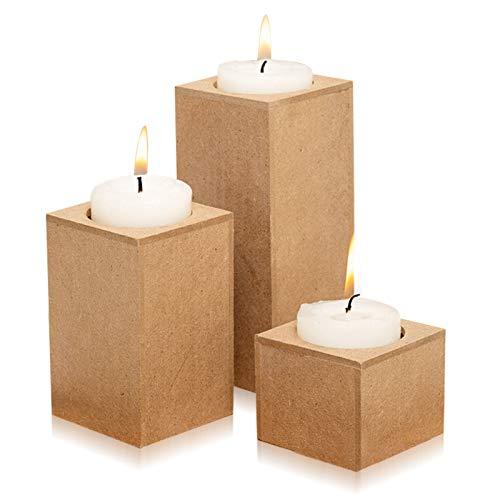 3 Stück Teelichthalter Set, Kerzenhalter für Teelichter, Teelichthalter mit Tablett, Klein, Sockel Design, 3-Teilig, zum Einzeln Oder Zusammen Verwendbar, Küche, Wohnzimmer, Heimdekoration