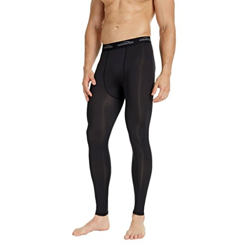 COOLOMG Herren Jugend Kompression Tights Laufhose Sporthose Lang Training Fußball Volleyball Schwarz L