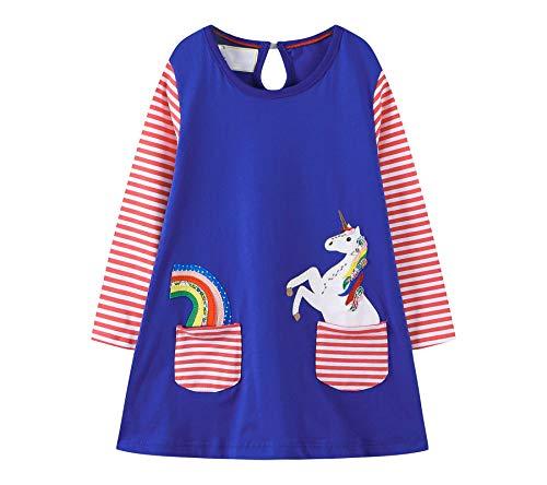 Vestido infantil para meninas, casual, algodão, listrado, de unicórnio, manga comprida, Natal, Raindeer, 14#blueballoon, 7-8 anos