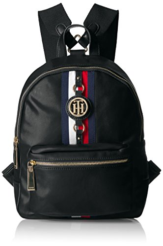 Tommy Hilfiger Backpack Jaden, Black Polyvinyl Chloride Designer Supreme Large Fan